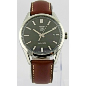 TAG HEUER CARRERA WV211B.FC6203 BROWN LEATHER AUTO SILVER MENS LUXURY WATCH