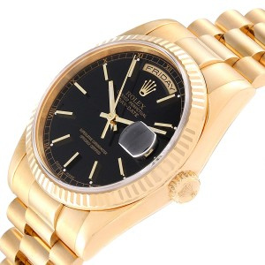 Rolex President Day-Date Black Dial Yellow Gold Mens Watch 118238