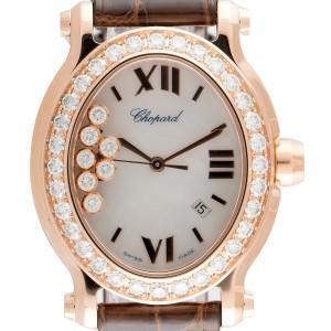 Chopard Happy Sport Oval 18K Rose Gold Quartz 30mm Womens Watch