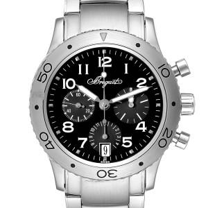 Breguet Transatlantique Type XX Flyback Black Dial Steel Watch 3820ST