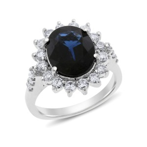18k White Gold 4.81 Ct. Natural Diamond & Oval Sapphire Diana Inspired Halo Ring Size 6