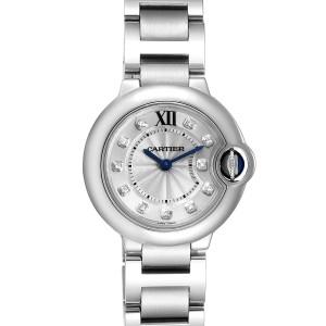 Cartier Ballon Bleu Silver Diamond Dial Steel Ladies Watch WE902073