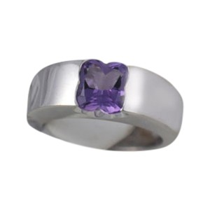 Mauboussin 18K White Gold Amethyst Four Leaf Clover Ring
