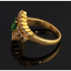 18K Yellow Gold 0.74ct. Emerald & 0.48ct. Diamond Ring