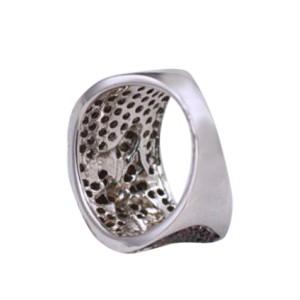 14K White Gold Flower Sapphire Green Tsavorite Garnet Ring