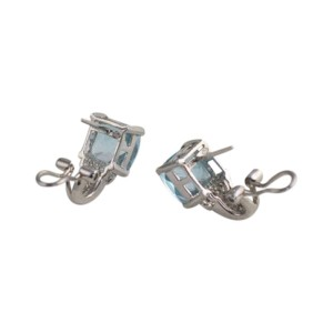14K White Gold Diamond Blue Topaz Signed Earrings