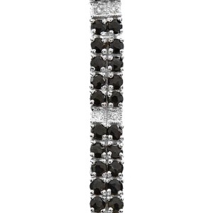 Sterling Silver, Midnight Blue Sapphire & Diamond Accent Bracelet