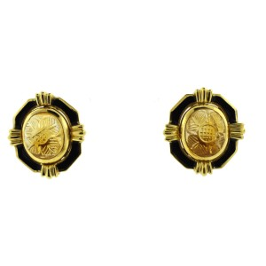 David Webb 18K Yellow Gold Citrine Earrings Clip