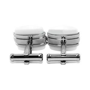 Montblanc Square Stainless Steel White Agate Cufflinks