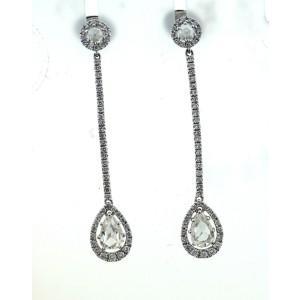 18K 750 White Gold Diamond Rose Cut Dangle Earrings