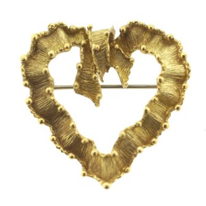 Vintage Tiffany & Co. 18K Yellow Gold Ribbon Heart Brooch