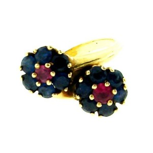 14K Yellow Gold Sapphire & Ruby Ring