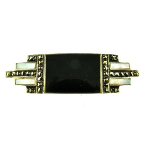 European Sterling Silver, Onyx, Mother Of Pearl & Marcasite Pin