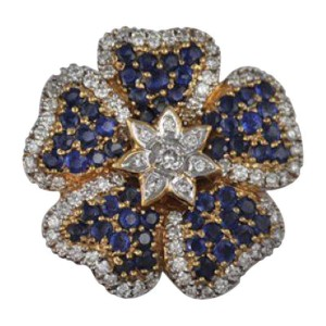 Salavetti 18K Yellow Gold Sapphire Diamond Floral Brooch Pin