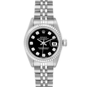 Rolex Datejust Steel White Gold Black Diamond Dial Ladies Watch 69174