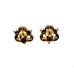 14K Yellow Gold Jade & Diamond Brooch & Earrings