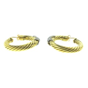 David Yurman 14K Y/G & Diamond Hoop Earrings