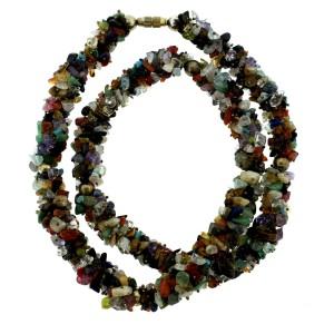 Natural Stone Strand Necklace Citrine Garnet Lapis Turquoise