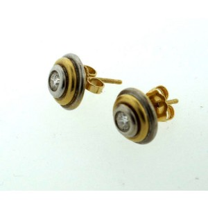 14K Yellow & White Gold Diamond Stud Earrings