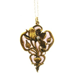 Art Nouveau 14k Yellow Gold, Enamel & Diamond Necklace
