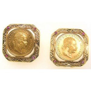 14K Yellow Gold With 22K Gold Coin Earrings