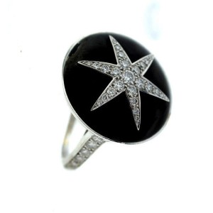 Faberge Black Enamel Diamond Ring