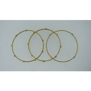 18K Yellow Gold Black  Diamond Trio Of Bangles Bracelet Set