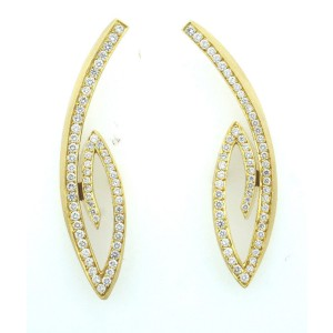 Thierry Vendome 18K Yellow Gold Diamond Earrings
