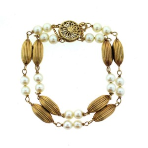 14K Yellow Gold Pearl Bracelet