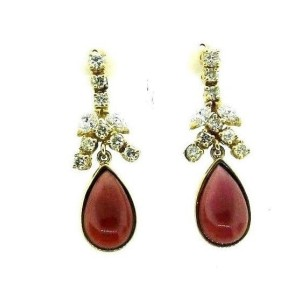 14K Yellow Gold Diamond Garnet Dangle Earrings