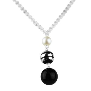 Montblanc Sterling Silver, Akoya Pearl & Black Onyx Necklace