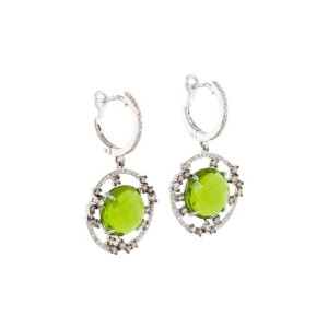 14k White Gold Peridot And Diamond Drop Earrings