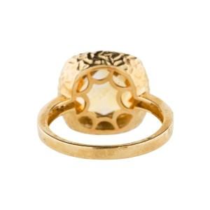 14K Yellow Gold Citrine And Diamond Ring