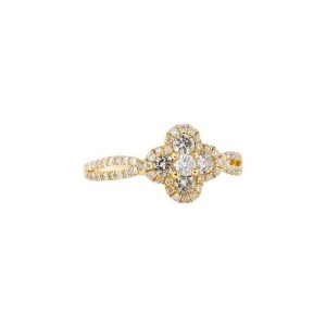 18K Yellow Gold Ond Clover Ring