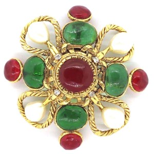 Chanel Gripoix Multi-Colored Stoned & Simulated Glass Pearl Brooch Pin