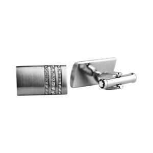 Montblanc Stainless Steel 3 Rings Pave Diamond Cufflinks