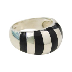 aebd7ee27 Black Enamel & Sterling Silver Stripes Stripe Dome Ring | Tiffany & Co. |  Buy at TrueFacet