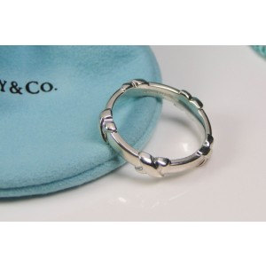 Tiffany & Co. Signature X Sterling Silver Stacking Ring Size 9.5