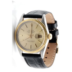 Rolex Datejust 18K Yellow Gold / Stainless Steel Champagne Stick Dial Black Strap 36mm Mens Watch
