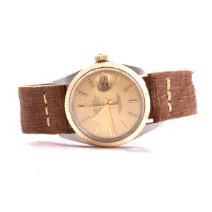 Rolex Datejust 18K Yellow Gold & Stainless Steel Champagne Stick Dial Brown Strap 36mm Mens Watch