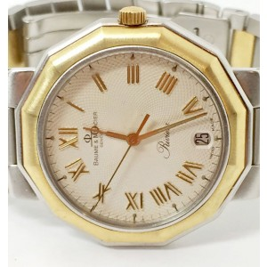 Baume & Mercier Riviera 18K Yellow Gold & Stainless Steel 37mm Mens Watch