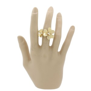 Van Cleef & Arpels 18K Yellow Gold Frivole Between The Finger Flower Ring Size 6.5
