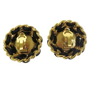 Chanel Gold-Tone Hardware and Leather with Simulated Glass Pearl Clip-On CC Earrings