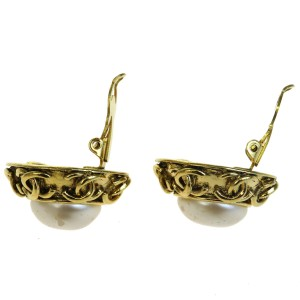 Chanel Gold-Tone Hardware with Simulated Glass Pearl Clip-On Earrings