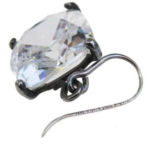 Bottega Veneta Silver Tone Hardware with Cubic Zirconia Pierce Earrings