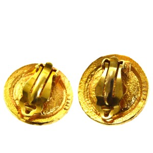 Chanel Gold Tone Hardware with Red Stone CC Clip-On Earrings