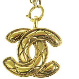 Chanel Gold Tone Hardware CC Logo Pendant Long Chain Necklace