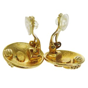 Chanel CC Gold Tone Hardware Clip-On Earrings