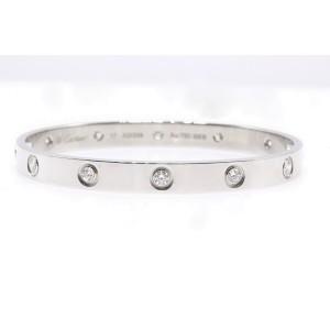 Cartier Love Bracelet 18K White Gold 10 Diamond Size 17