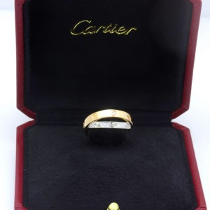 Cartier Love Ring 18K White and Rose Gold Diamond Size 4.5